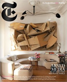 OR AWFUL: Art That Forces The Question T Magazine cover. November Cardboard collage by Florian Baudrexel.T Magazine cover. November Cardboard collage by Florian Baudrexel. Farmhouse Storage Cabinets, Living Room Bookcase, Cardboard Sculpture, Decor Logo, Farmhouse Dining Chairs, Living Room Seating, Living Area, Living Rooms, Design Museum