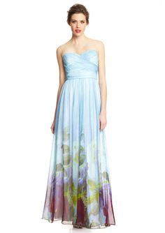 AIDAN MATTOX Pleated Top Floral Gown--sometimes I wish I had more places to wear gowns!