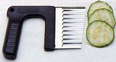 Wavy Vegetabl Slicer by Fox Run Craftsmen. $3.49. Great gift idea. Stainless steel blade. Nice way to add shape to your appetizers. Wavy veggie / cheese slicer. Cut veggies and cheese with wavy design. Make wavy-sliced veggies and cheeses with this slicer from Fox Run.  Stainless steel blade with plastic handle.  Use to slice cheese, cucumbers, peppers, pickles, and more!