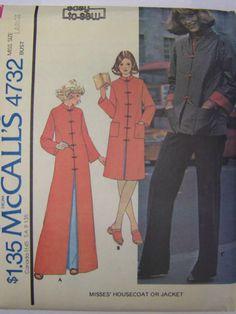Vintage 1970s McCall's 4732 Oriental Style HouseCOAT/ROBE  or JACKET Pattern sz Large Bust 40-42 UNCUT by RaggsPatternStash on Etsy