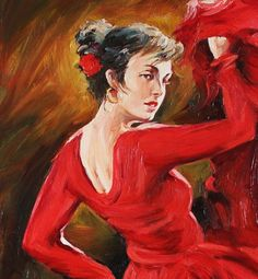 Spanish Flamenco Dancer in Red Dress Oil Painting on Canvas by Anastassia Art. $195.00, via Etsy.