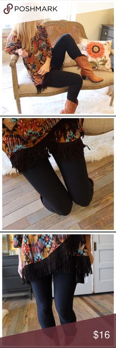 BLACK BRUSH KNIT LEGGINGS BLACK BRUSH KNIT LEGGINGS.                     SIZE FITS- 2-12 COMFORTABLY.                    92% POLYESTER 8% SPANDEX.                      - ITEM COMES FROM MANUFACTURER THERE WILL BE A HANG TAG, NO RETAIL PRICE TAGS Infinity Raine Pants Leggings