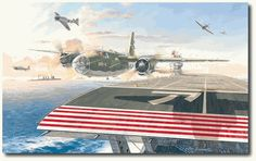 """A Shot Across the Bow by Roy Grinnell (B-26 Marauder)June 4, 1942, 7:10 a.m., 150 miles northwest of Midway Atoll . . . Moments after releasing a torpedo at the Japanese carrier Akagi, the B-26 Marauder """"Suzy-Q"""" thunders down the carrier's flight deck, nearly grazing the bridge. 1st Lt James P. Muri, of the Army Air Force's 22nd Bomb Group, pilots his craft across the ship in an attempt to escape the gauntlet of fire unleashed by the enemy surface fleet and swarming Zero fighters"""