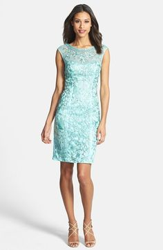 Sue Wong Cap Sleeve Embroidered Sheath Dress available at #Nordstrom