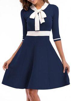 32248f8322a6 Sapphire Blue Draped Bodycon Bow Collar Office Worker/Daily Elegant Midi  Dress. Elegant Midi DressesPretty ...
