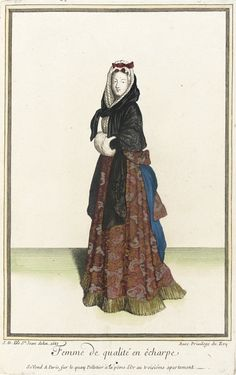 "1683 French Fashion plate ""Recueil des modes de la cour de France, 'Femme de Qualité en Êcharpe'"" at the Los Angeles County Museum of Art, Los Angeles"