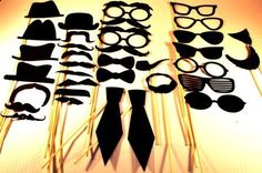 Photo booth props- set of 33- party pack- spy theme