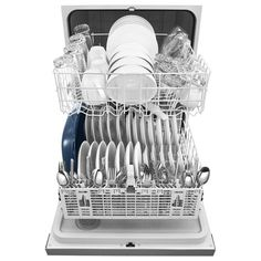 Whirlpool Front Control Built-in Tall Tub Dishwasher in Monochromatic Stainless Steel with Wash Cycle, 55 - The Home Depot Built In Dishwasher, Stainless Steel Dishwasher, Kitchenaid Dishwasher, Whirlpool Dishwasher, Plastic Ware, Clean Plates, Energy Star, Tub
