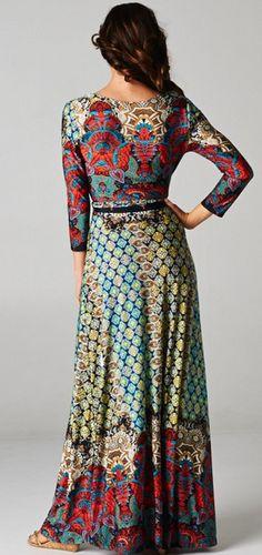 Multicolor Long Sleeve Maxi Dress