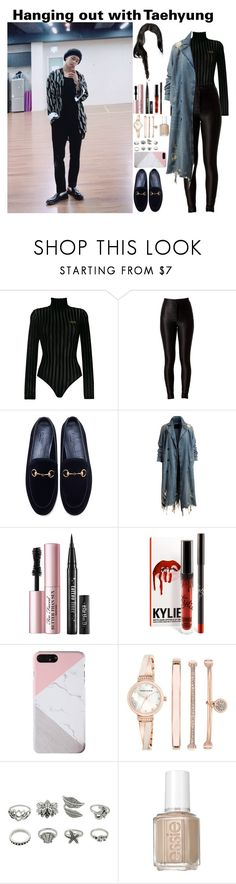 """""""Hanging out with Taehyung"""" by tatabranquinha ❤ liked on Polyvore featuring GCDS, Gucci, Too Faced Cosmetics, Anne Klein, Essie, kpop, bts, BangtanBoys and KimTaehyung"""