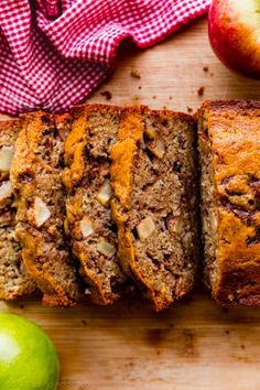 This apple cinnamon bread is extra soft, buttery, and moist, filled with extra cinnamon flavor, and deliciously swirled with brown sugar apples. Wonderful fall baking dessert or snack recipe! Apple Desserts, Apple Recipes, Fall Recipes, Snack Recipes, Snacks, Bread Recipes, Dessert Recipes, Apple Cinnamon Bread, Apple Bread