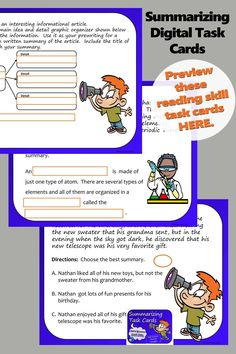 Summarizing - digital task cards on Google slides to practice the reading and writing skill of summarizing, for reading and language arts students in fourth, fifth, sixth, and seventh grades. Close Reading Activities, Fun Classroom Activities, Reading Lessons, Reading Resources, Reading Skills, Writing Skills, Teaching Reading, Common Core Reading Standards, Summary Writing