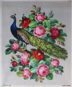 Peacock with roses - A Berlin Work pattern