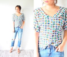 Vintage BOHO // abstract pattern blouse // by BeigeVintageCo