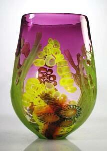 """Glass Master David Leppla and his brilliantly colored """"Sea Scape Vessel"""""""