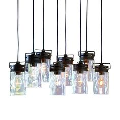 Shop allen + roth Vallymede 7.7-in Aged Bronze Hardwired Standard Multi-Pendant Light with Clear Shade at Lowes.com