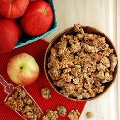 Apple Pie Paleo Granola - ½ c almonds,  ½ c pecans, ½c walnuts, all nuts chopped, ¼ c pumpkin seeds, 7 medjool dates, chopped, ⅓ c unsweetened shred. coconut, 1 Tbs grnd cinnamon, 1 tsp grnd nutmeg, 1tsp grnd allspice, ¼ tsp grnd cloves, ¼ tsp grnd ginger, ¼ tsp sea salt, ½ c unsweetened apple sauce, ⅓ c coconut oil melted, 2 Tbs maple syrup, 1 tsp vanilla extract. Mix nuts, dates, coconut. Mix wet ingred., add to nut mix., mix well, spread evenly on lined baking sheet, bake 30-40 min…