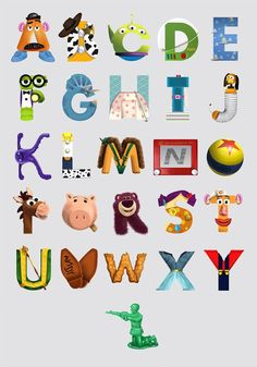 Toy Story Alphabet Poster Wall Art Fun Baby Learning Humour Gift Kids I like this. Combining learning with fun. Fête Toy Story, Toy Story Crafts, Toy Story Theme, Toy Story Party, Toy Story Birthday, Toy Story Font, Birthday Gifts, 2nd Birthday, Toy Story Nursery