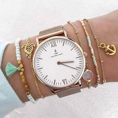 our beautiful mesh watch in combination with beautiful armcandy | kapten-son.com