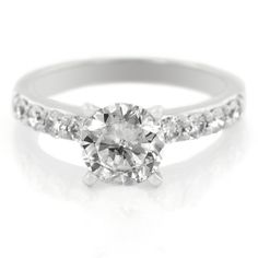 Platinum Shared Prong Eight Stone Diamond Engagement Ring by A. Jaffe