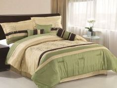 Chezmoi Collection 7-piece Taupe Brown Forest Green Embroidered Tree Leaf Comforter 90-inch By 92-inch Bed In A Bag Set Queen Size Bedding b...
