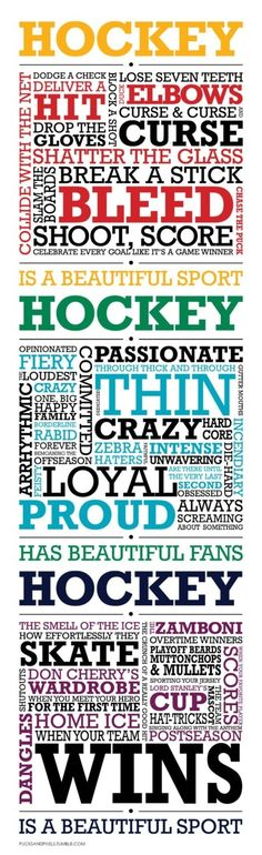More words of hockey!