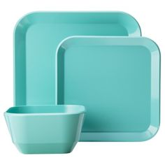 Room Essentials® 12 Piece Square Dinnerware Set    (Got these dishes in aqua and red for my glamper)