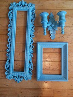 Blue vintage wall decor.   Get this look: Search a local vintage shop, a few garage sales or Kijiji for items you like and then paint them in your favorite semi-gloss or high gloss paint color! -Chantal