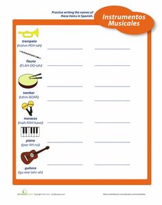 Worksheets: Instruments in Spanish