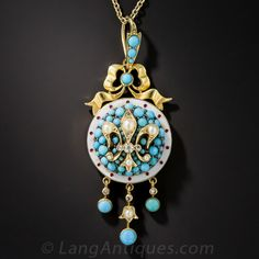 Victorian, Turquoise, Seed Pearl and Enamel, Fleur de Lys Necklace - 90-1-6509 - Lang Antiques
