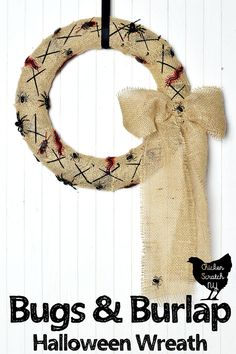 Get ready for Halloween with a Nightmare Before Christmas Wreath inspired by the wicked Oogie Boogie made with burlap and an assortment of creepy crawlies Burlap Halloween, Easy Halloween Crafts, Halloween Ghosts, Halloween Kids, Halloween Pumpkins, Holiday Crafts, Halloween Decorations, Outdoor Halloween, Happy Halloween