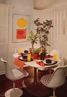 1970s Modular Dinette Set Furniture Popular materials were Lucite, glass, vinyl, and leather, as well as metal, chrome and wood. Chrome and glass created a clean, space age look. Plastic became an acceptable material for furniture, and beanbag chairs became a trend for relaxed seating.