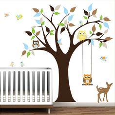 Children Vinyl Wall Decals Nursery Tree Wall Stickers with Animals