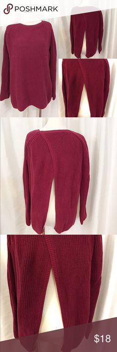 Open Back Cotton Ribbed Sweater sz S 100% Cotton Ribbed Sweater with Open Back. Size S. Color: Red Wine 525 America Sweaters