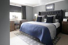 Grey Wall Bedroom Design For Men