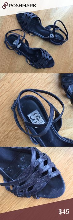 Barneys Co-Op Navy sandals IT37.5 Authentic pre-owned Barneys Co-Op Navy Blue leather sandals with ankle wrap strap. IT37.5. Flat. Good condition. See photos. No filter or photoshop used. Barneys New York CO-OP Shoes Sandals