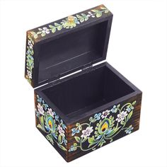 Store Indya Vintage Handmade Wooden Jewelry Keepsake Trinket Storage Memory Floral Design for Home Decor (Multicolor Painted Wooden Boxes, Wooden Storage Boxes, Hand Painted, Wooden Box Designs, Jewelry Holder, Wooden Jewelry, Handmade Wooden, Floral Design, Decorative Boxes