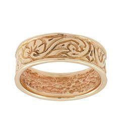 Vintage Engraved Scrolls Wedding Band Ring in 14k Rose Gold 419.00