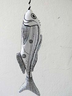 Fish Black And White Textile Ornament by polykatoikia