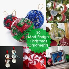 20 Mod Podge DIY Christmas ornaments