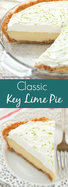 This Classic Key Lime Pie features an easy homemade graham cracker crust, a smooth and creamy key lime pie filling, and homemade whipped cream on top. The perfect dessert for key lime lovers! Key Lime Desserts, 13 Desserts, Delicious Desserts, Dessert Recipes, Lemon Pie Recipe, Keylime Pie Recipe, Recipe For Key Lime Pie, Easy Key Lime Pie, Classic Key Lime Pie Recipe