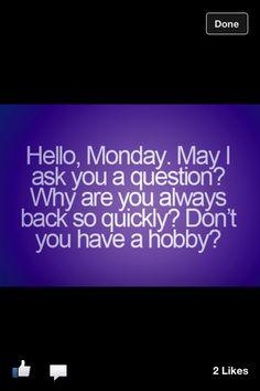 Hello Monday...    #quote #funny #hobbies