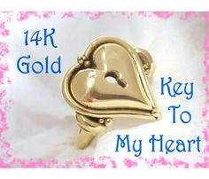 14K Gold ~ Key To My Heart Artisan Ring ~ Unique Goldsmith Handmade One of A Kind Treasure ~ 12 Grams - FREE SHIPPING $895  http://www.findmetreasure.com/shop/classy/index.php/artisan-jewelry/14k-gold-key-to-my-heart-artisan-ring-unique-goldsmith-handmade-one-of-a-kind-treasure-12-grams.html