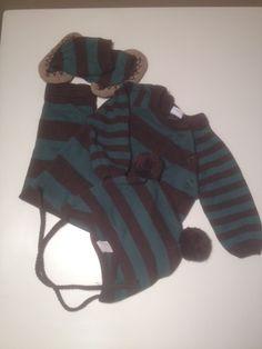 EGGbaby knit romper, hat & booties, 3-6 months - merrilymerrily.ca