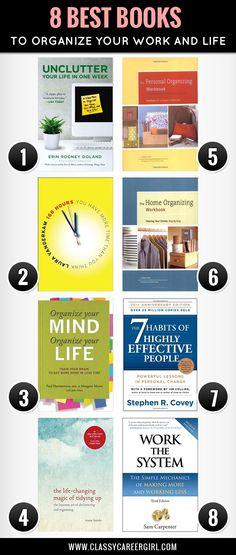 Organize Your Life with These 8 Books - Classy Career Girl I Love Books, Good Books, Books To Read, My Books, Reading Lists, Book Lists, Life Changing Books, Organize Your Life, Reading Material