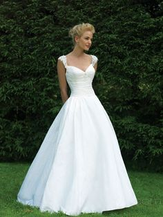 wedding dresses: love the sweetheart neck line and the wide straps