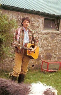 Macca at his farm in Scotland. Circa 1970's.