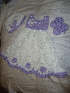 Crochetpedia: My Work - Newborn Baby Girl Outfit, Dress, hat and shoes