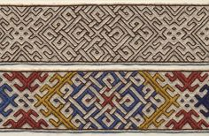 Detail of reconstructed Höfdi band. Wool and linen