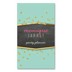 GLAMOROUS gold foil glitter confetti mint green Business Card Template. This great business card design is available for customization. All text style, colors, sizes can be modified to fit your needs. Just click the image to learn more!